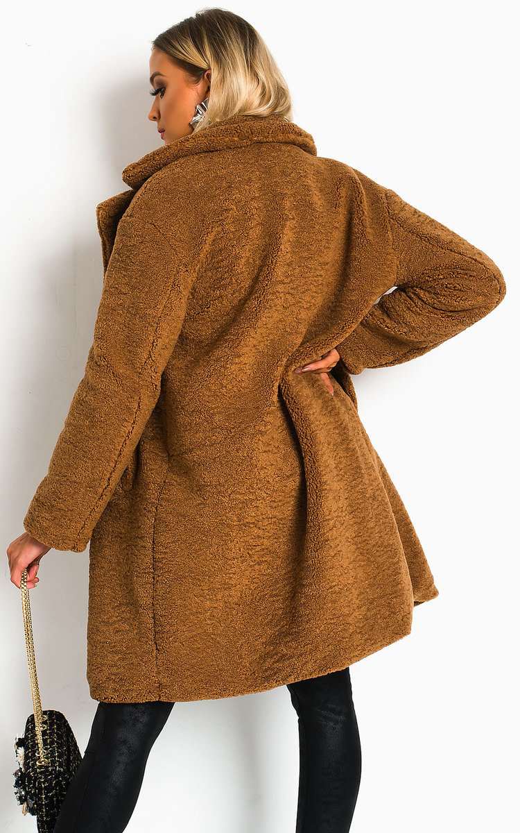 Gigi Teddy Bear Maxi Coat In Camel