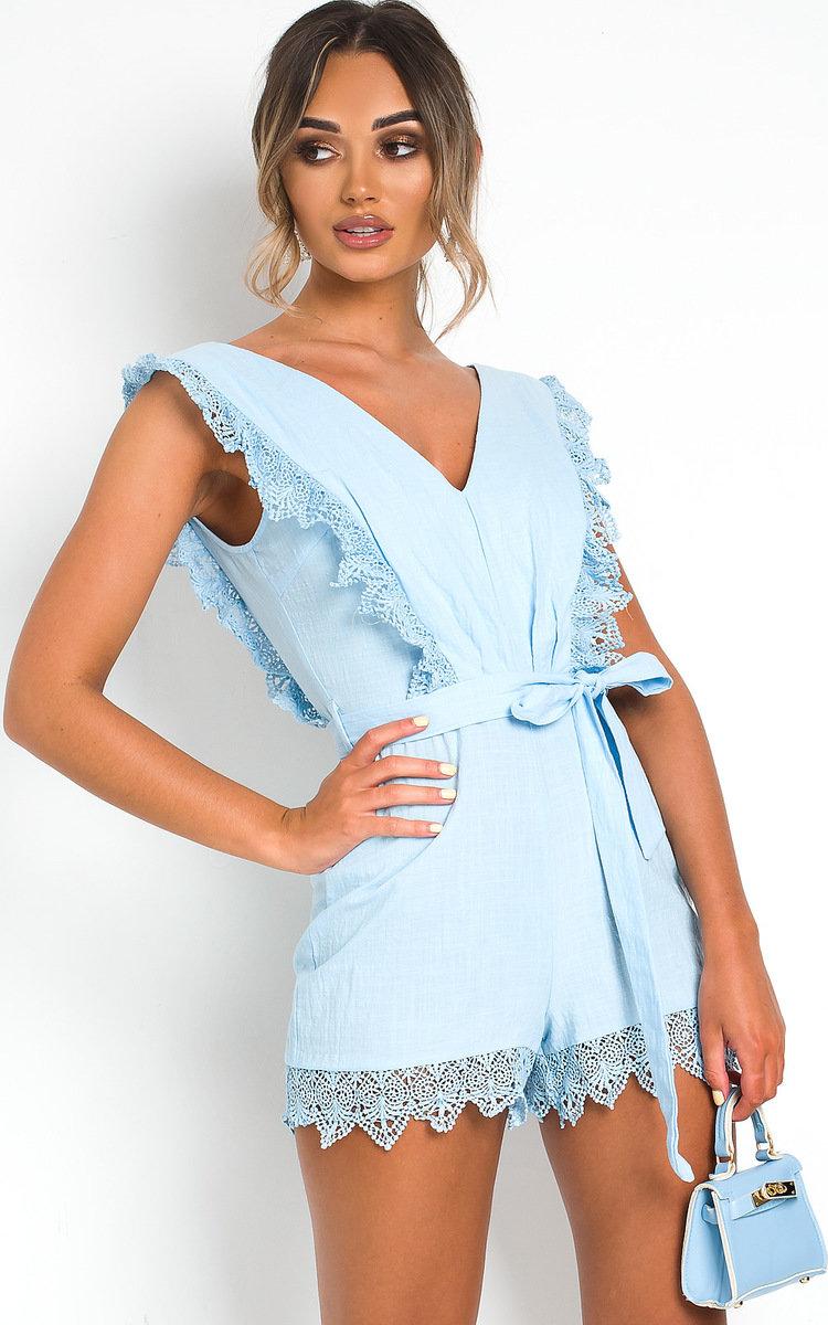 Hallie Crochet Playsuit in Light blue