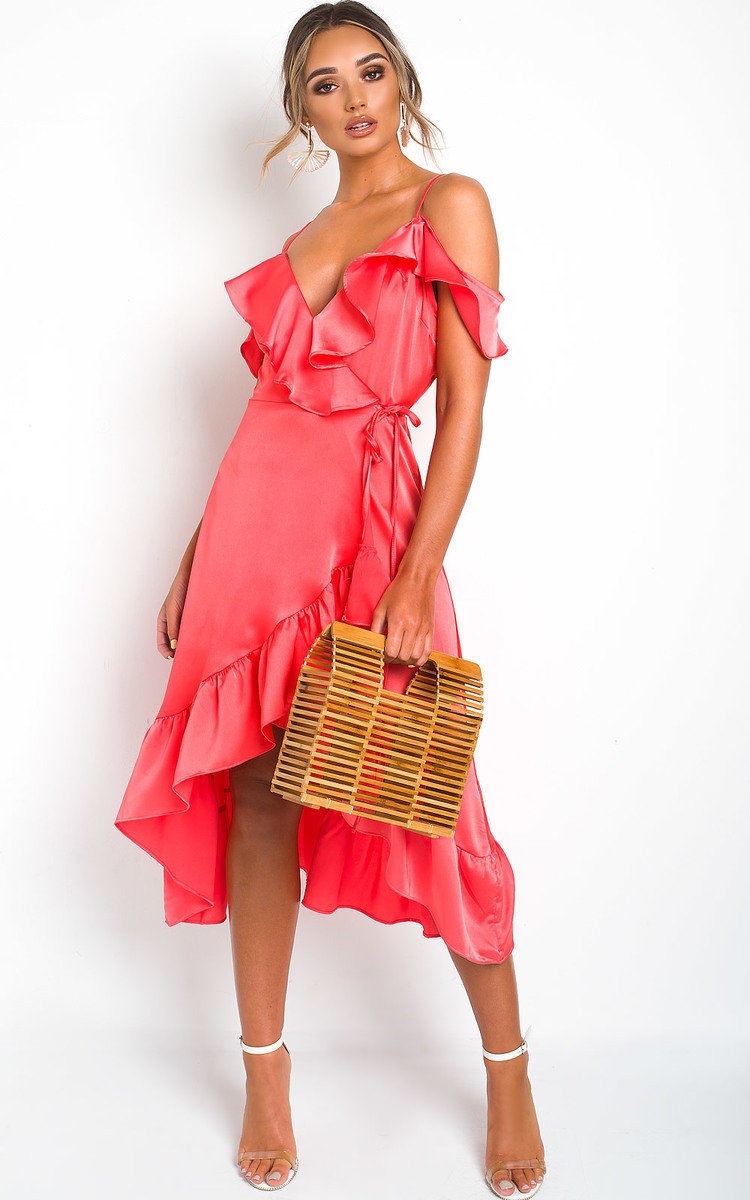 Hannah Wrap Front Midi Dress in Coral