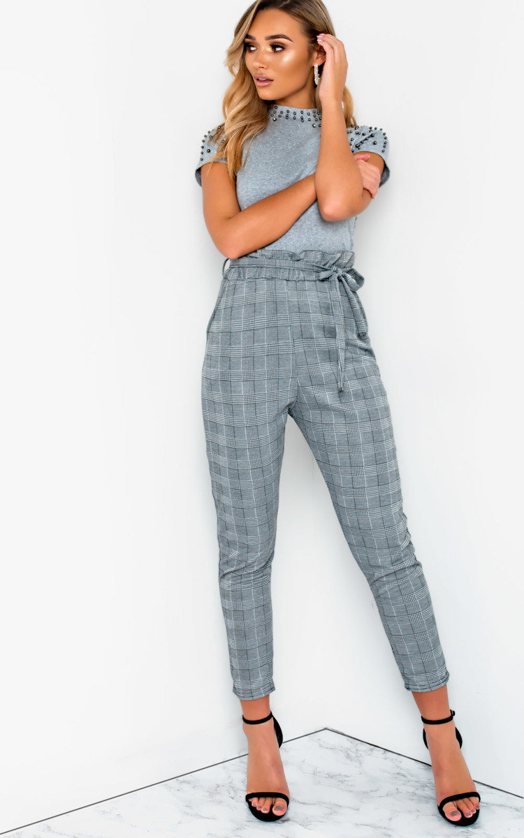 Hayleigh Paperbag Tie Tailored Trousers in Grey