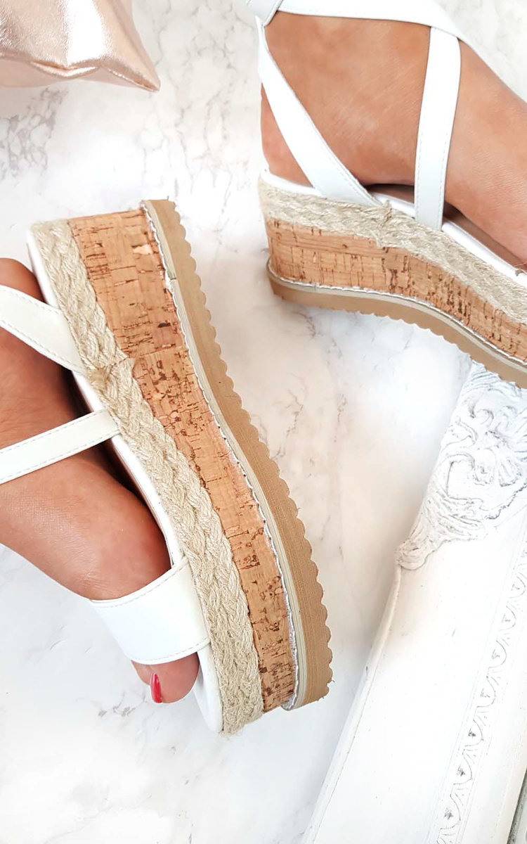 Hollie Lace Up Wedge Sandal in White