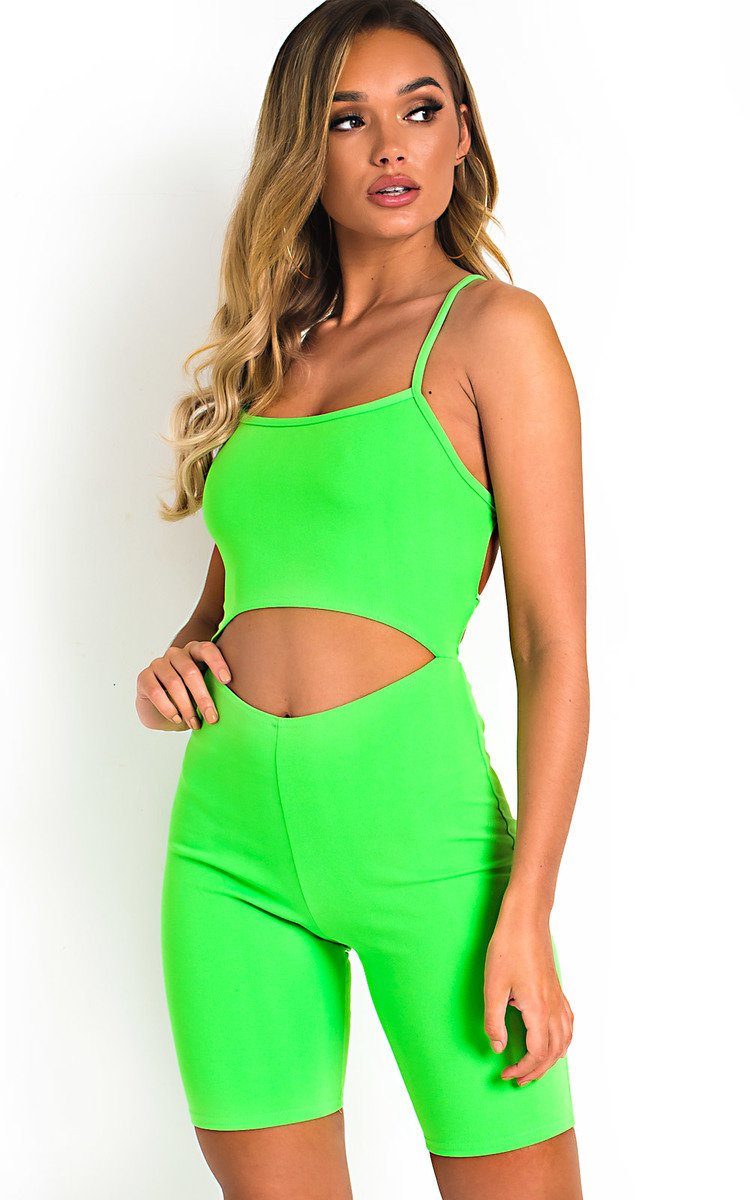 Imo Cut-Out Crossover Stretch Unitard in Neon green