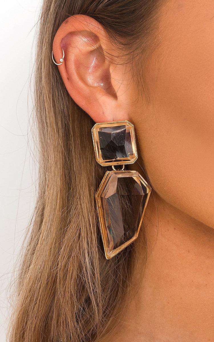 Iris Statement Geometric Crystal Drop Earrings in Gold