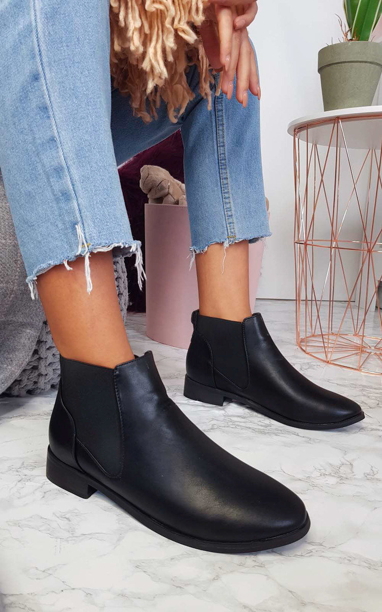 Ivy Faux Leather Ankle Boots in Black p