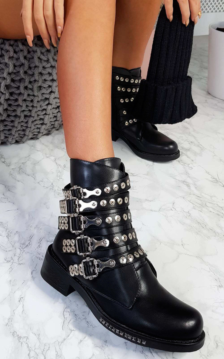 Buy Pearl Studded Biker Boots Up To 79 Off