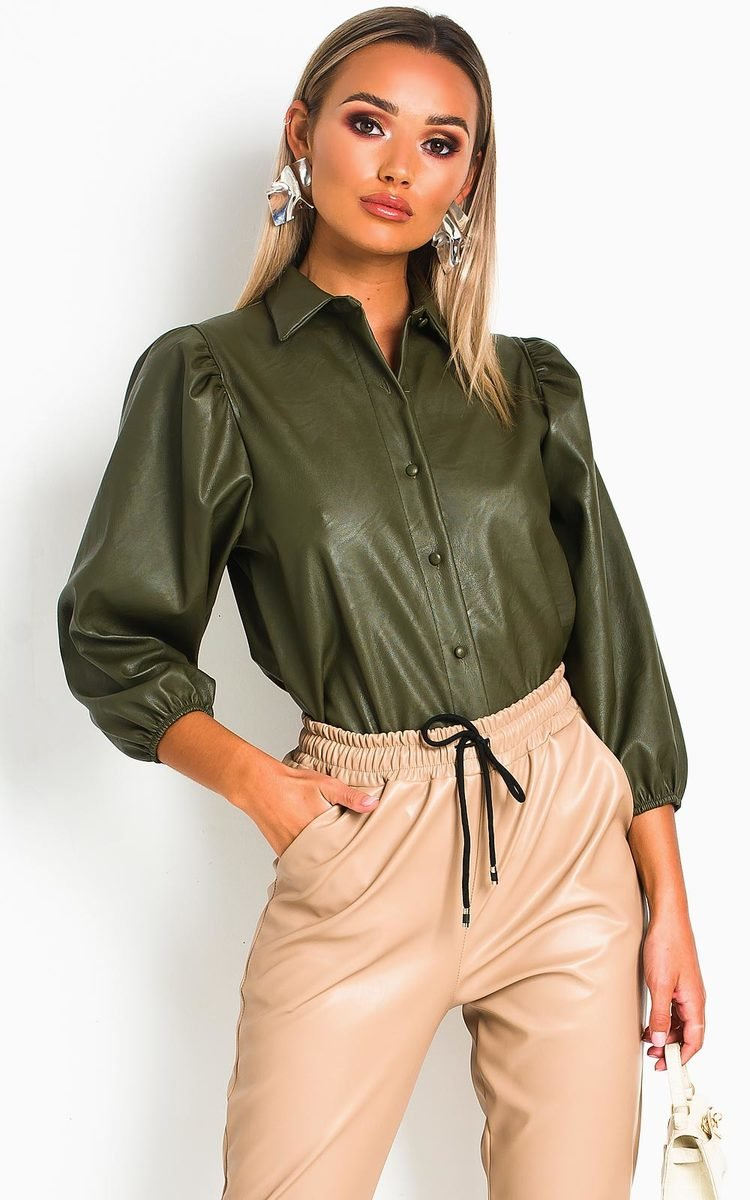 Jasmen Faux Leather Button Up Top in Khaki