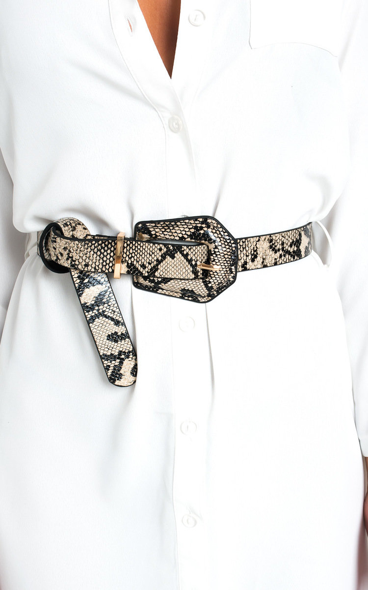 Jasmine Snake Print Belt in Nude