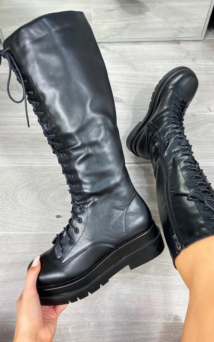 Amari Black Pu Lace Up Chunky Knee High Boots | Public