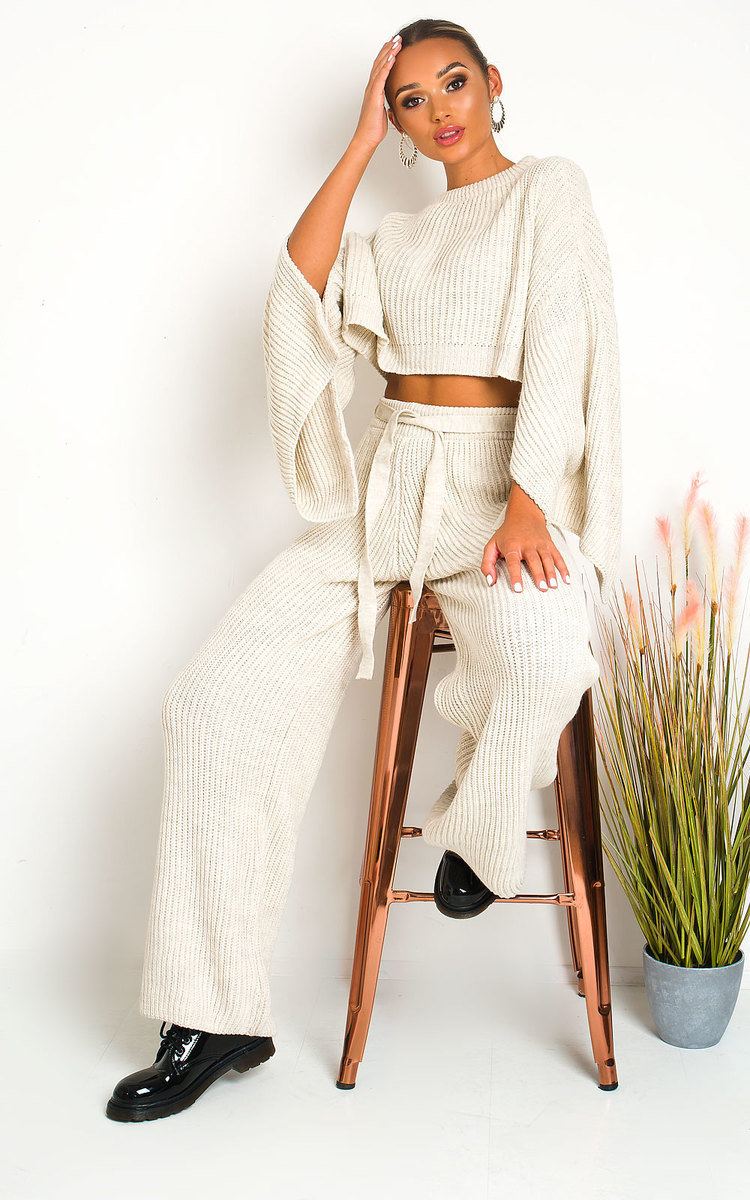 IKRUSH Katie Knitted Slit Sleeve Co-ord   Beige UK M//L