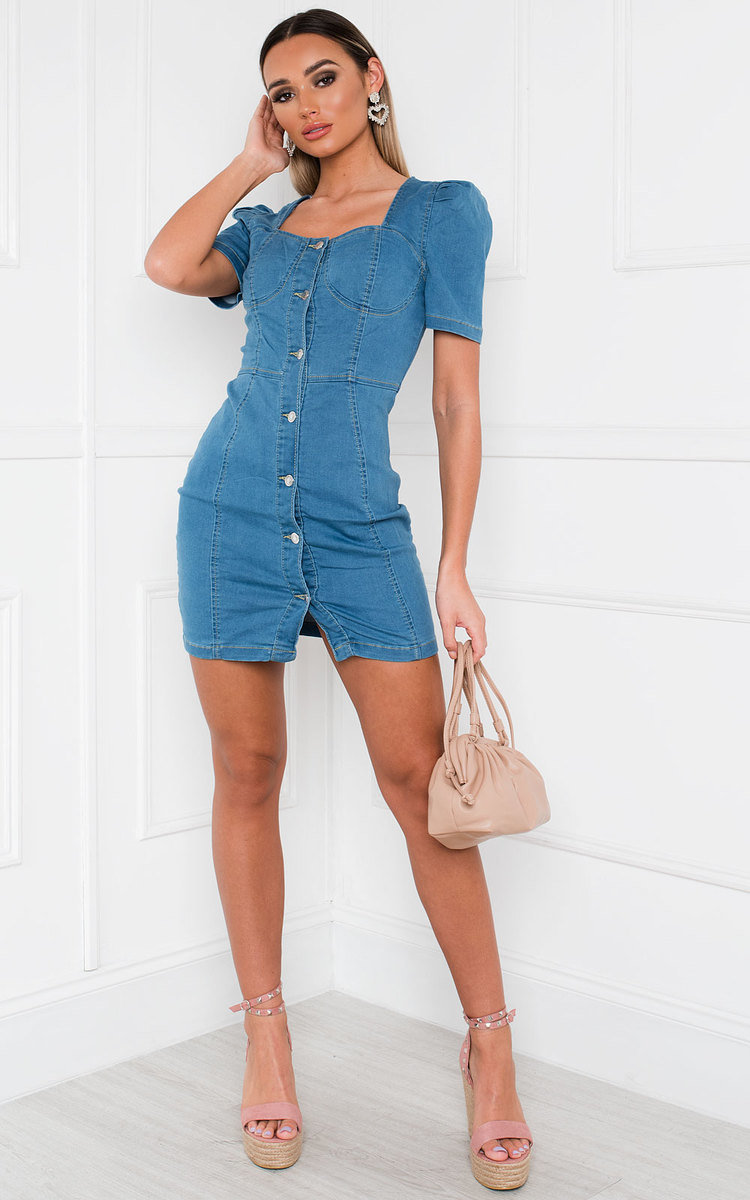 Kalis Button Up Denim Dress in Denim