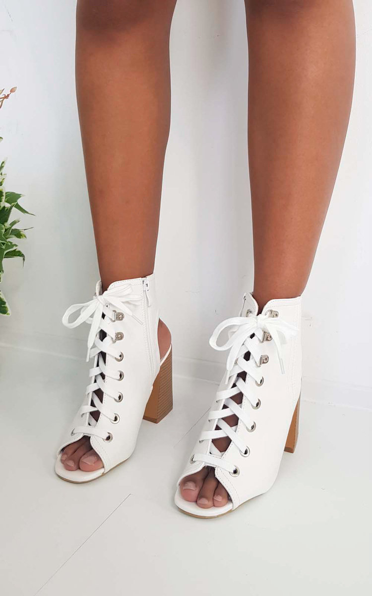 lace up block heels white