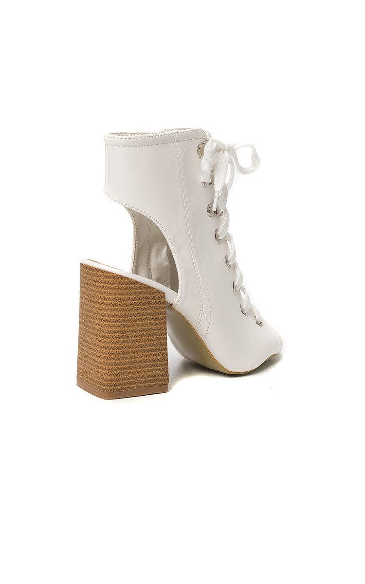 Karissa Peep Toe Lace-Up Block Heels in