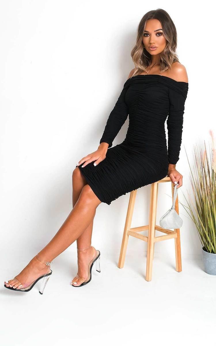 IKRUSH Womens Katarina Off Shoulder Bodycon Midi Dress