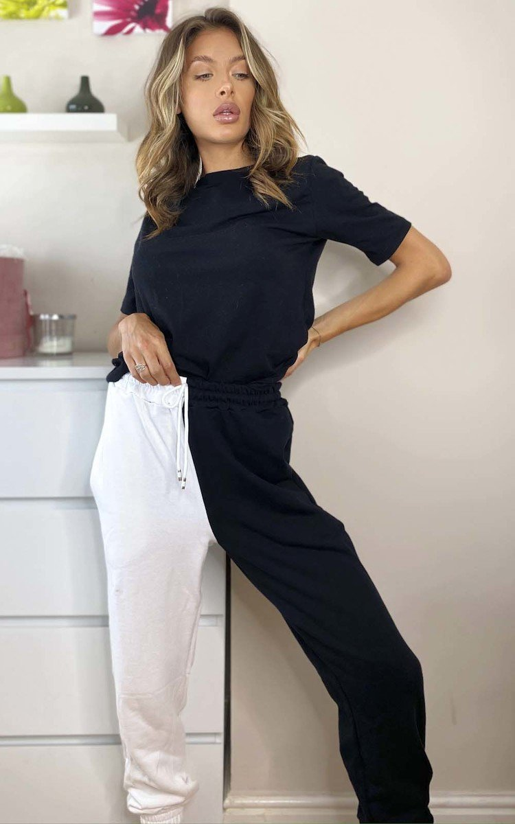 Kate Colour Block Casual Joggers in Black/white