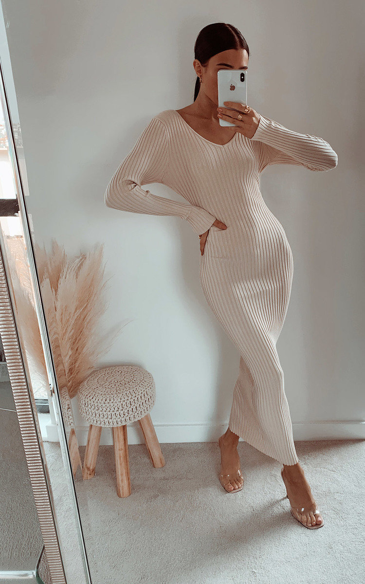 Kendall Knitted Bodycon Midi Dress in Beige
