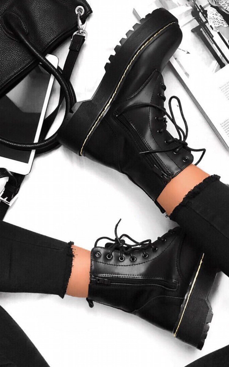 Kenny Lace Up Biker Boots in Black | ikrush