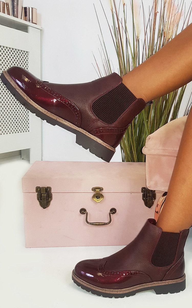 Kensie Faux Leather Brogue Chelsea Boots in Wine