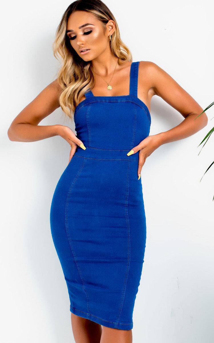 Kiara Denim Boydcon Midi Dress in Denim
