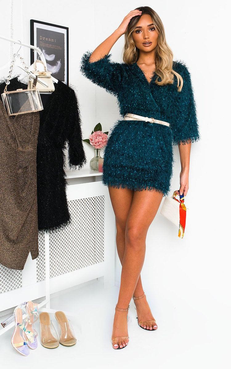Kimberley Fuzzy Mini Bodycon Dress in Teal