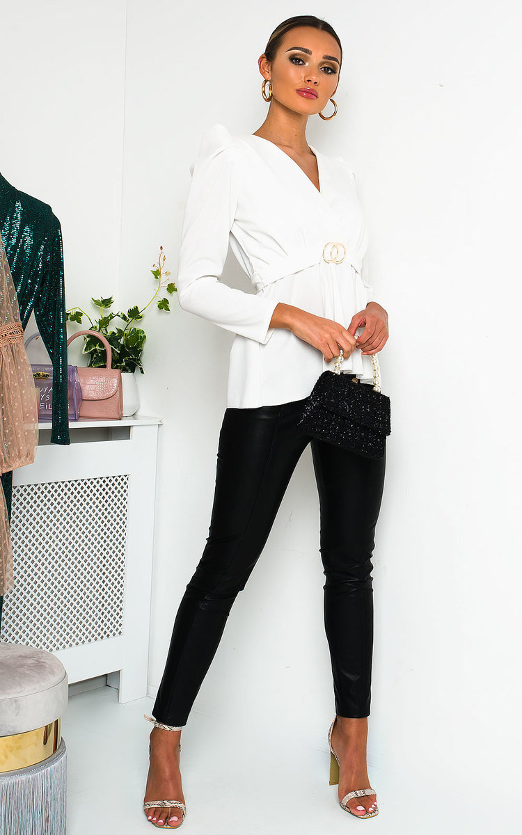Kimmie Puff Sleeve Belted Blouse Top in White
