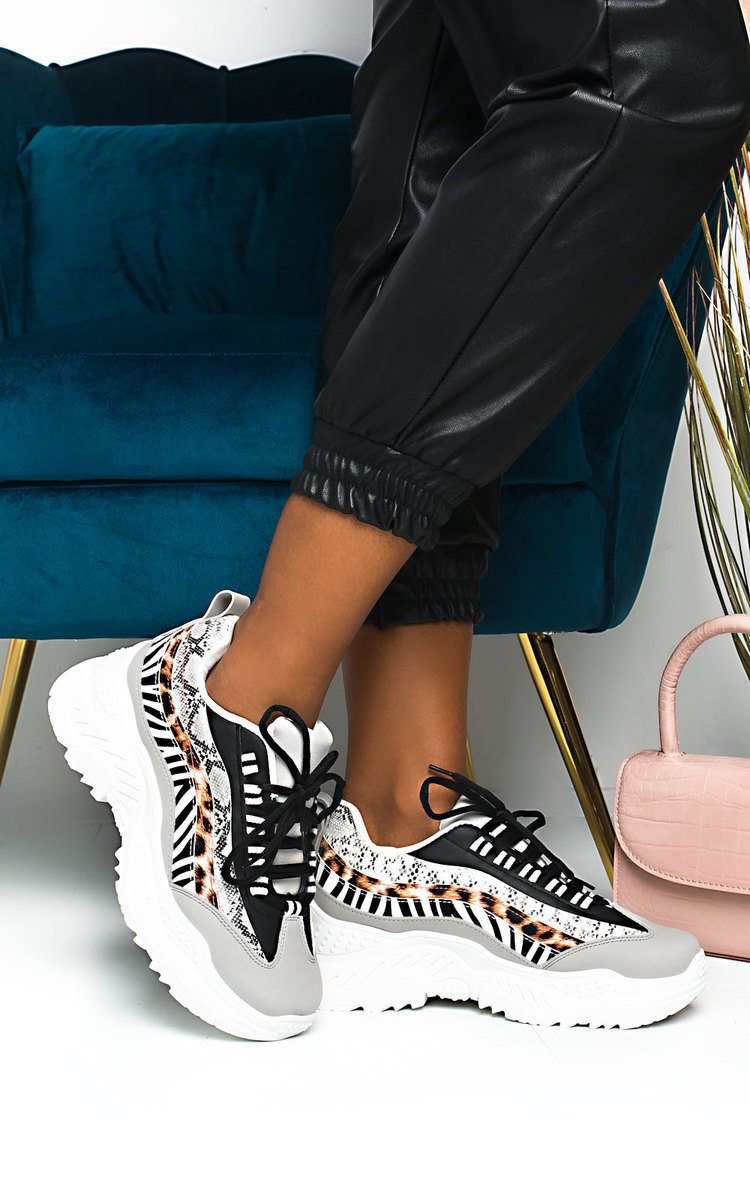 Kirsten Chunky Multi Printed Trainers in White
