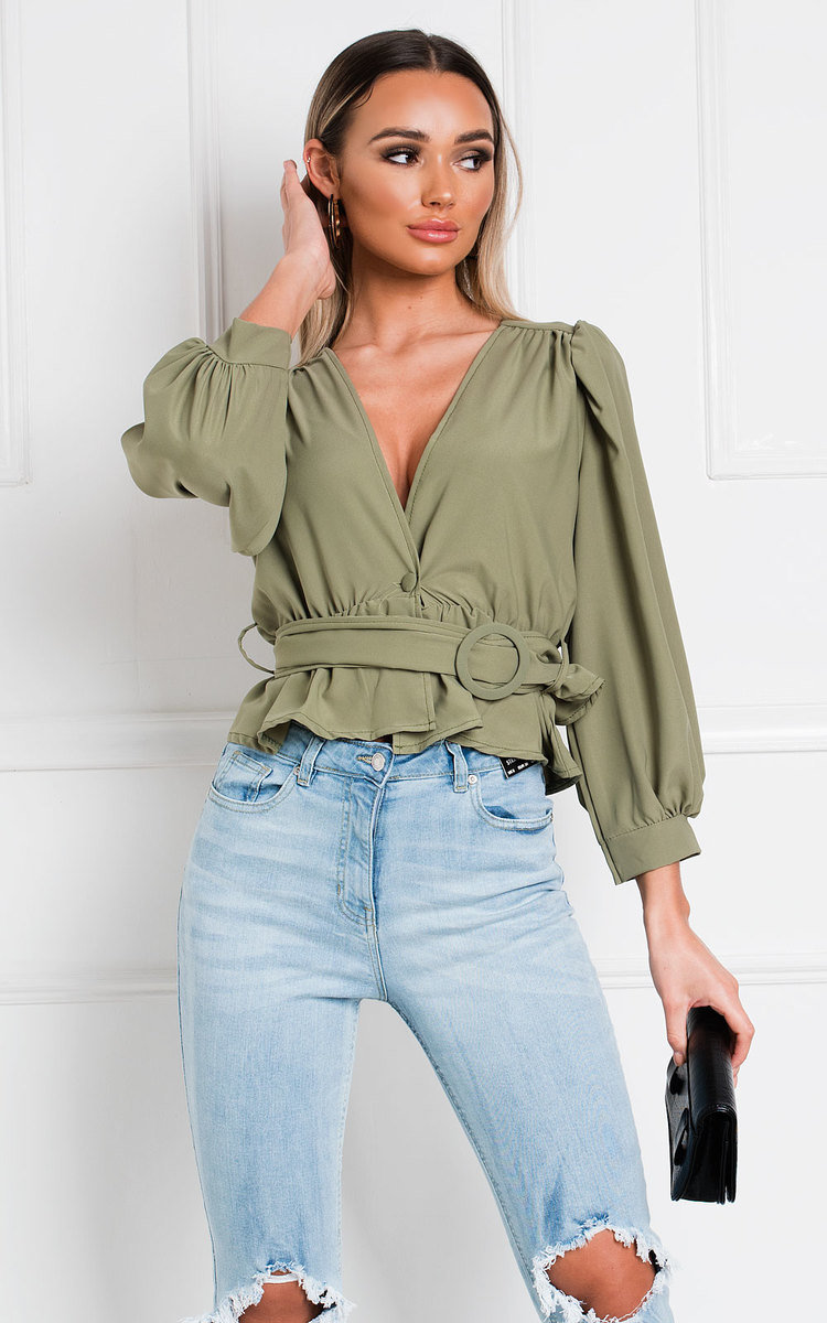 Kourtney V Neck Belted Long Sleeve Top in Jade