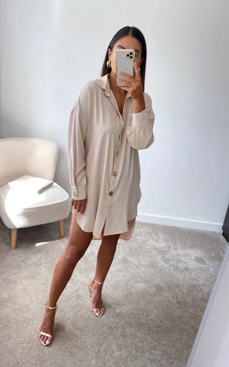 Kristy Oversized Shirt Dress in Beige