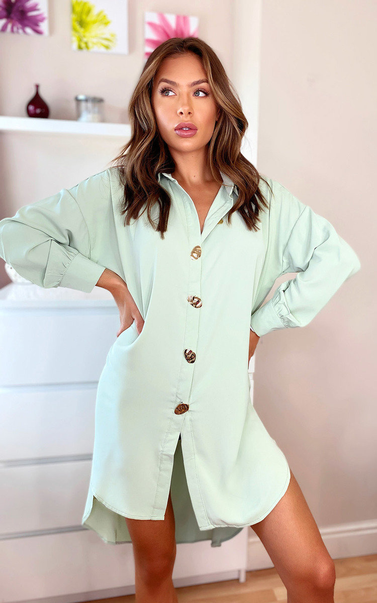 Kristy Oversized Shirt Dress in Mint