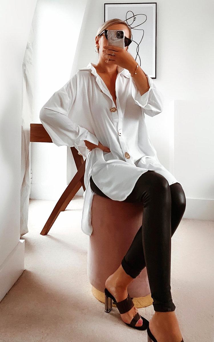 Kristy Oversized Shirt Dress in White