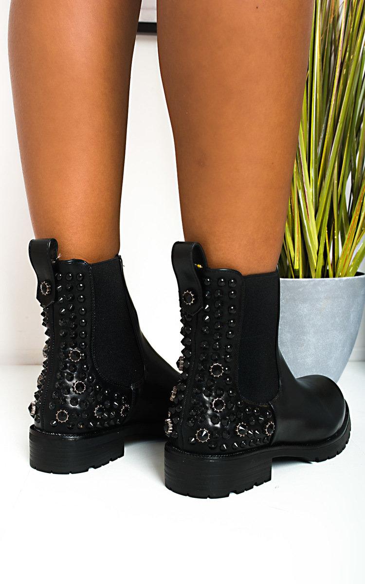 Kyle Embellished Ankle Boots in Black