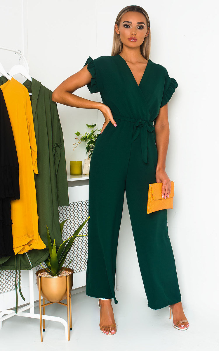 Lala Wide Leg Jumpsuit in Dark green