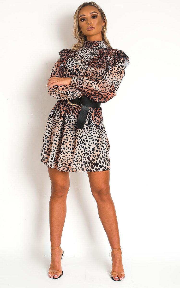 Larah Printed Smock Dress in Leopard