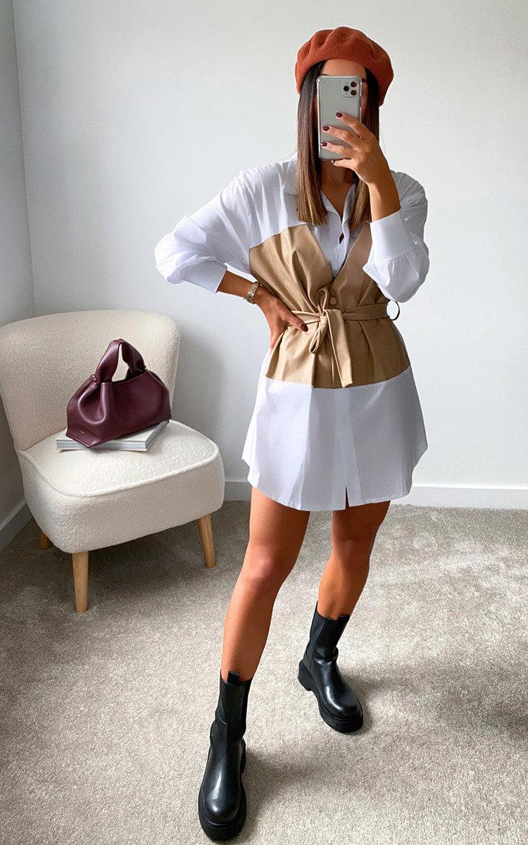 Lauren Corset Shirt Dress in Mocha