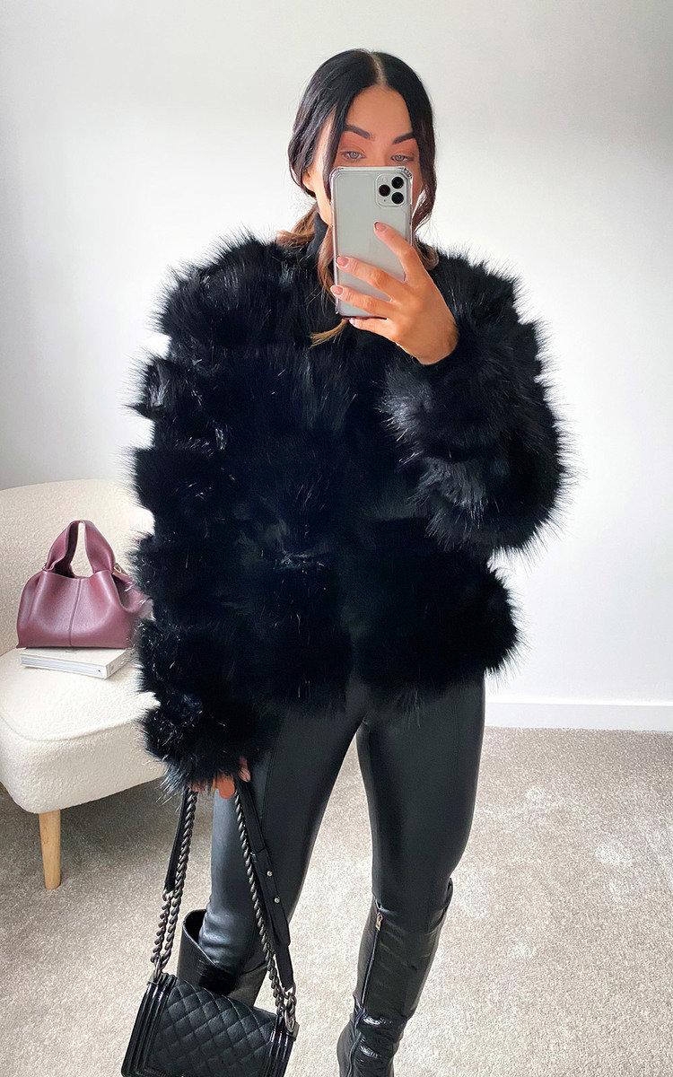 Lauren Faux Fur Coat in Black