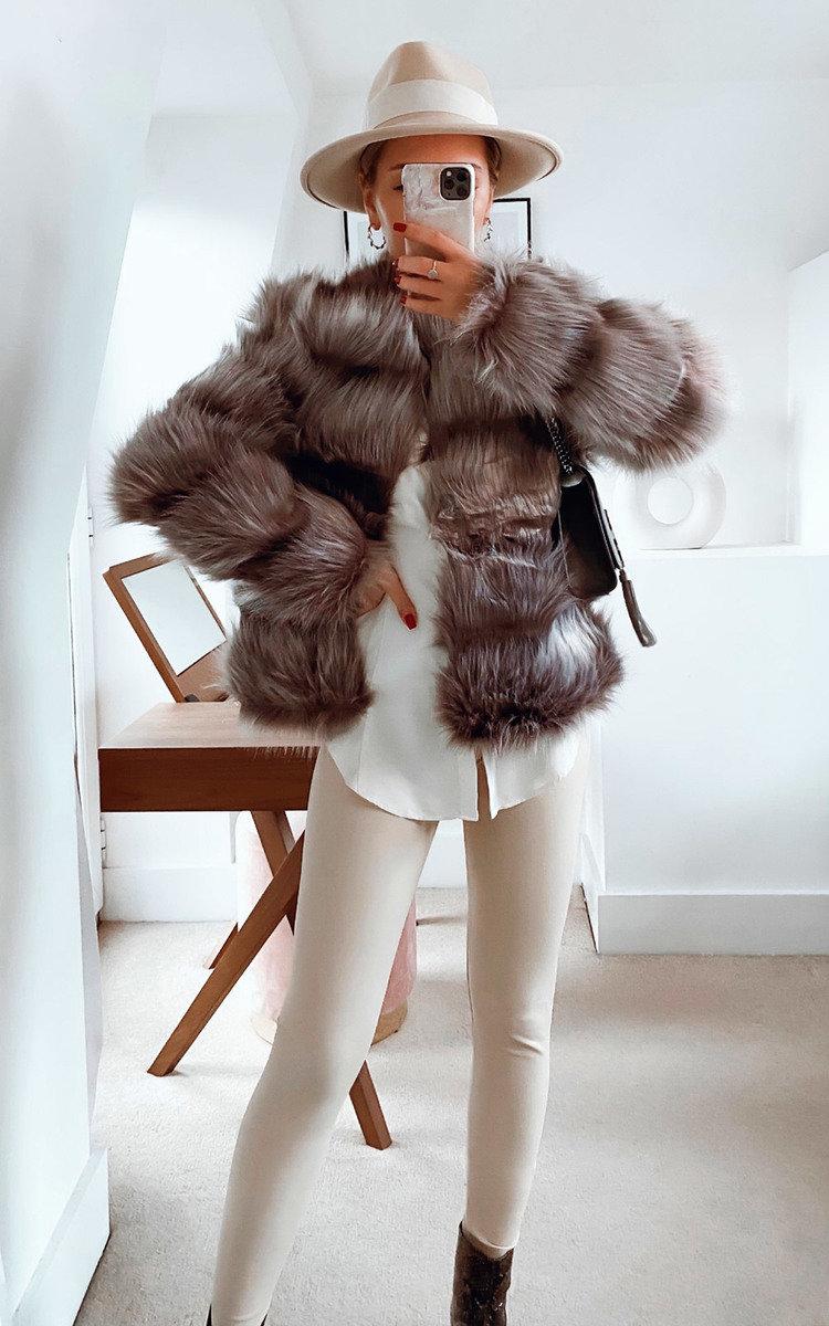 Lauren Faux Fur Coat in Grey