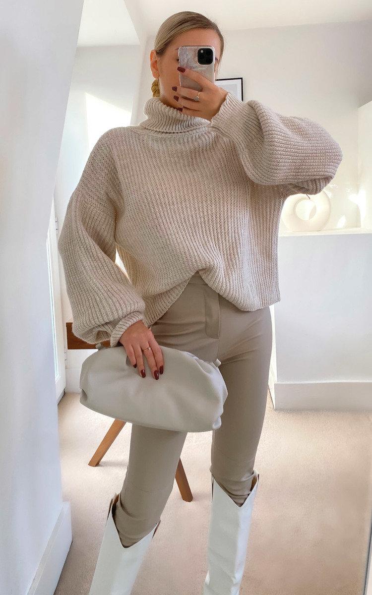 Lauren High Neck Knitted Jumper in Cream