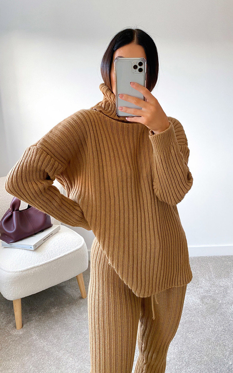 Lauren Ribbed Knitted Co-ord in Camel