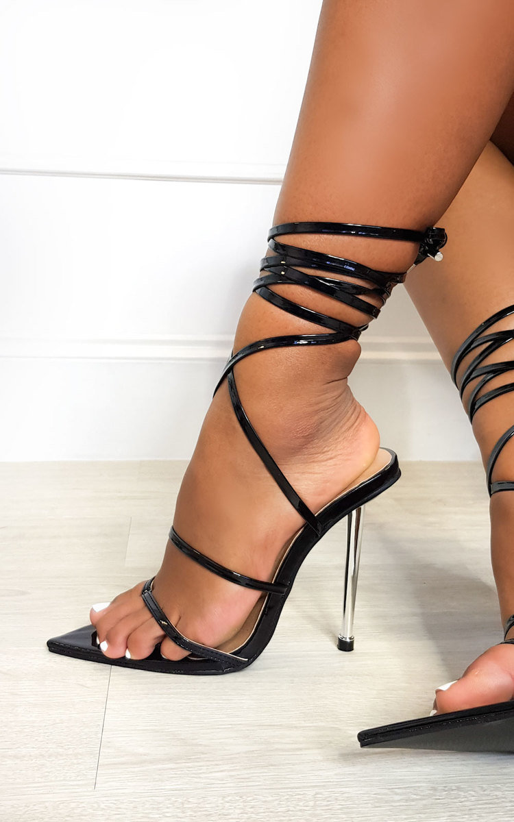 Leti Lace Up Pointed High Heels in