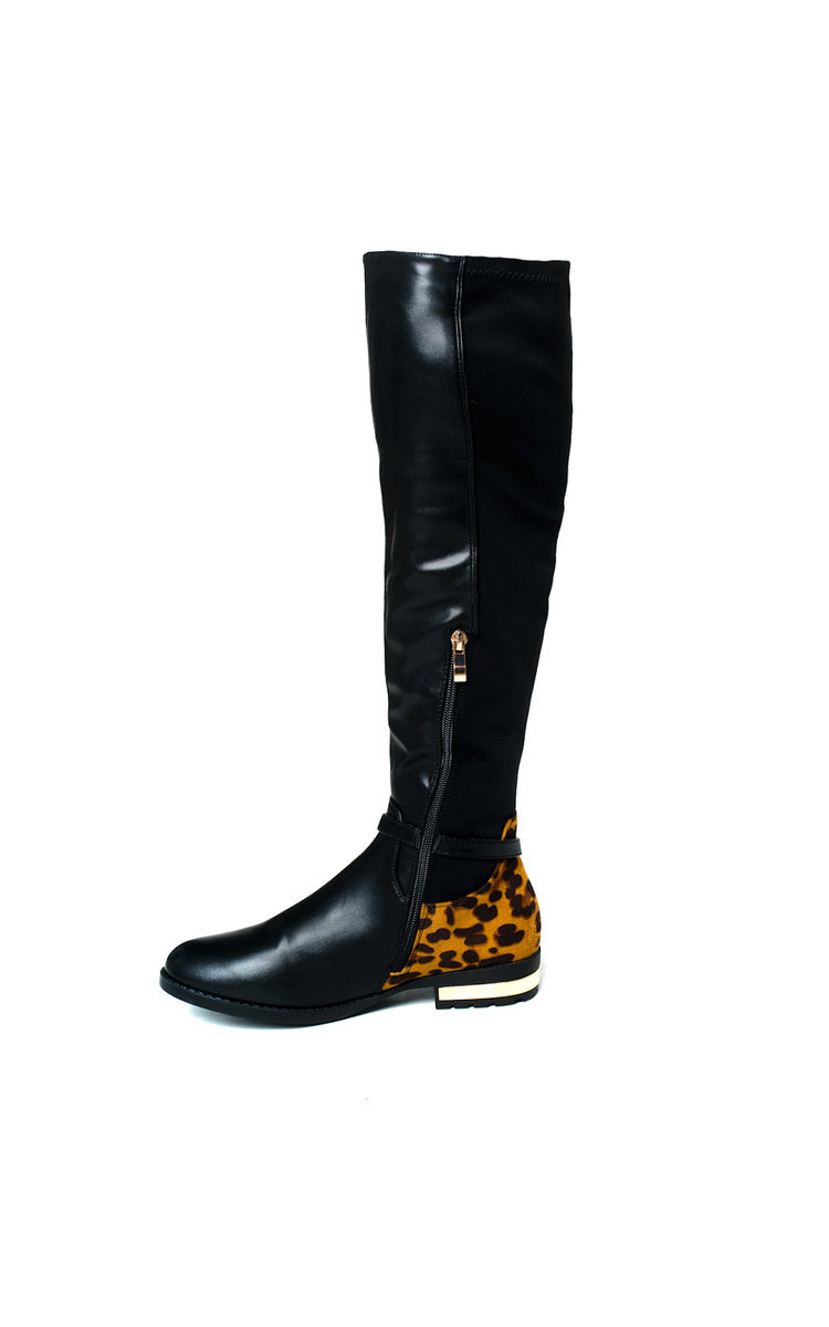 IKRUSH Womens Linsey Faux Suede Knee High Buckle Boots
