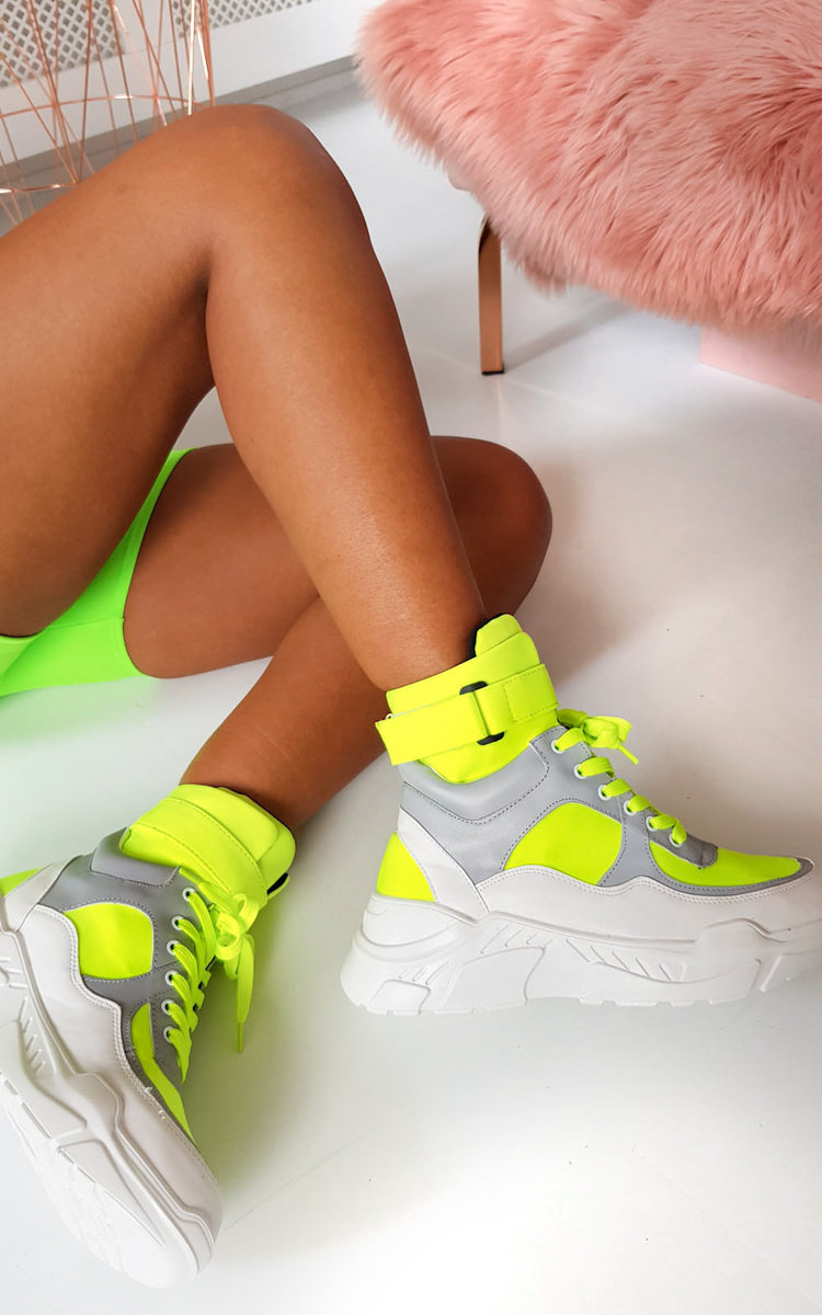 Lissy Lace Up 90s Style Boots in Neon green