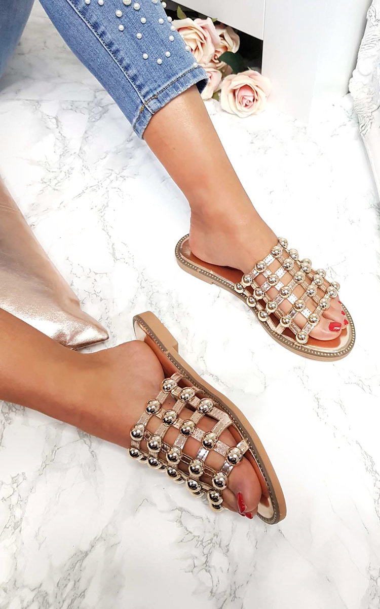 Liza Studded Caged Open Toe Sandals in