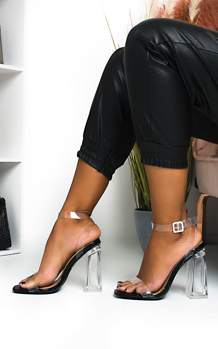 Lois Barely There Clear Block Heels in