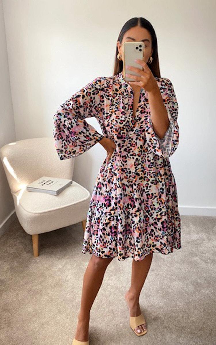 Lois Printed Smock Dress in Pink
