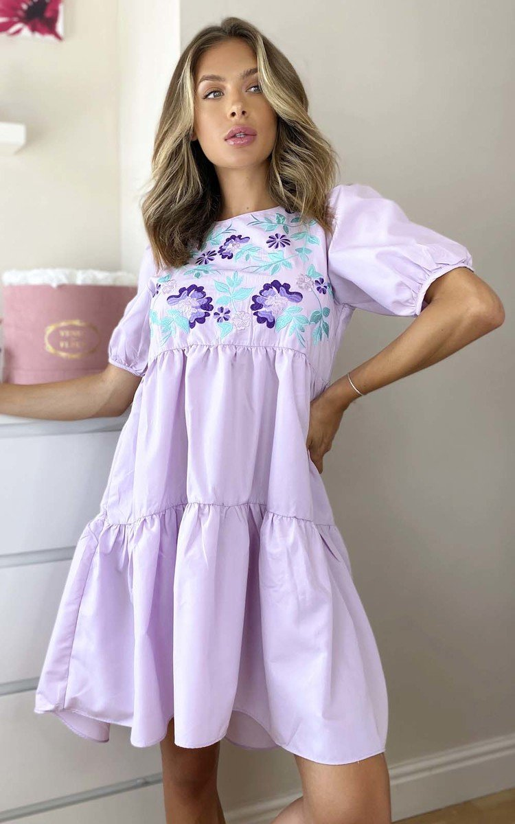 Lola Embroidered Layered Shift Dress in Lilac