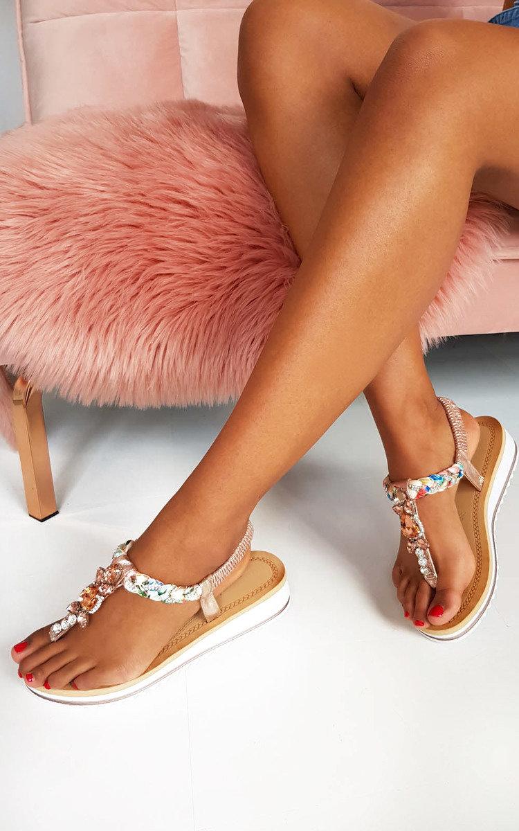 Lolita Jewelled T-Bar Sandals in Rose