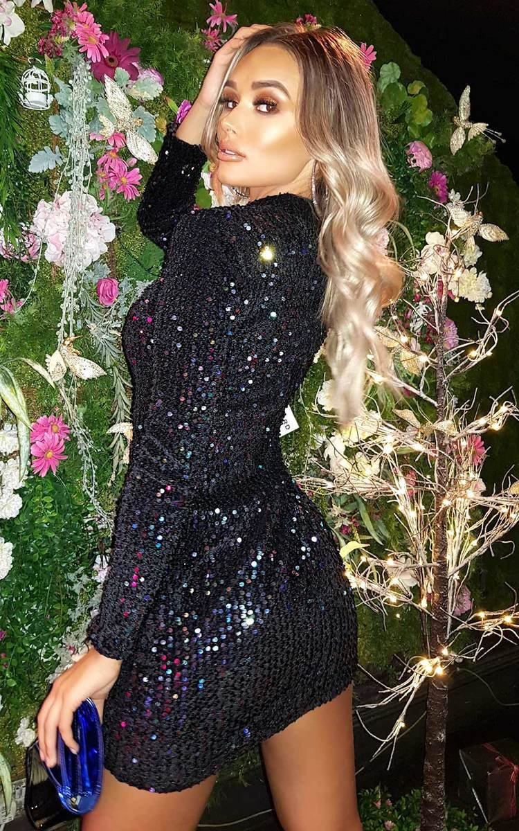 Lolita Sequin Embellished Velvet Mini Dress in Black