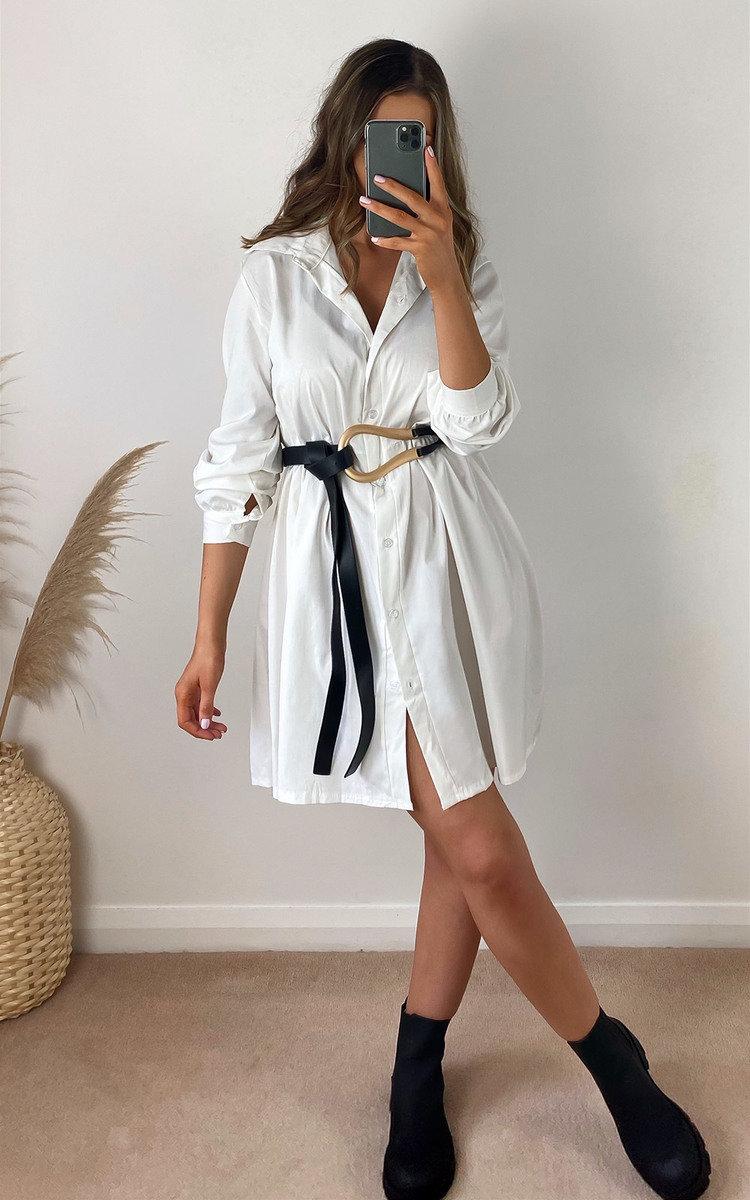 Luna Oversized Shirt Dress in White