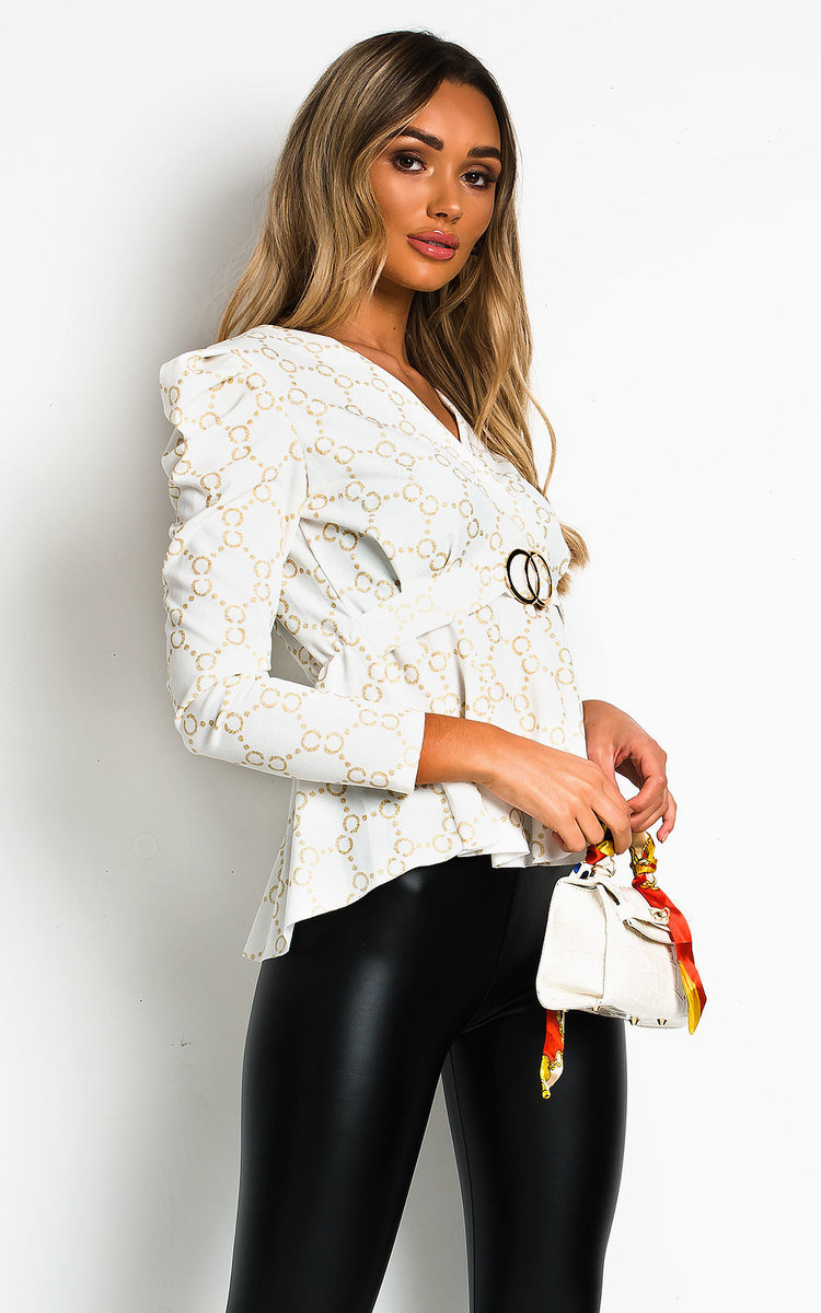 Lyly Ruffled Shoulder Sleeve Top in White