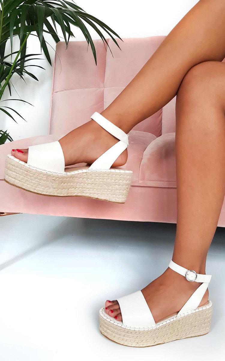 Maggie Flatform Sandals in White | ikrush