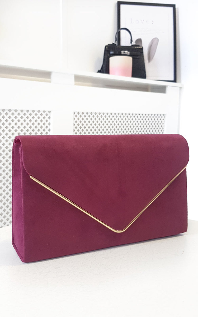 Marley Faux Suede Envelope Clutch Bag in Wine